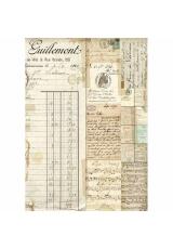 """Рисовая бумага для декупажа Stamperia DFSA4322 """"Старые тексты и ноты"""", формат А4"""