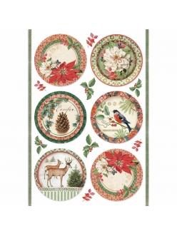 Новогодняя рисовая для декупажа Зимняя ботаника, шары, Stamperia формат А4