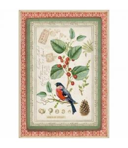 "Рисовая бумага для декупажа Stamperia DFSA4326 ""Зимняя ботаника, птица"", формат А4"