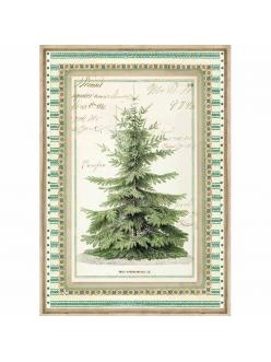 Новогодняя рисовая для декупажа Зимняя ботаника, елка, Stamperia формат А4