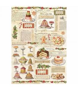 """Рисовая бумага для декупажа Stamperia DFSA4329 """"Рождественская кондитерская"""", формат А4"""