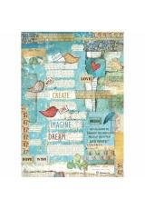 """Рисовая бумага для декупажа Stamperia DFSA4333 """"Пэчворк, птички и письма"""", формат А4"""