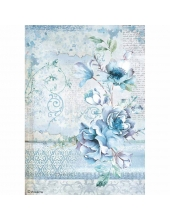 "Рисовая бумага для декупажа Stamperia DFSA4337 ""Голубая страна, цветы"", формат А4"