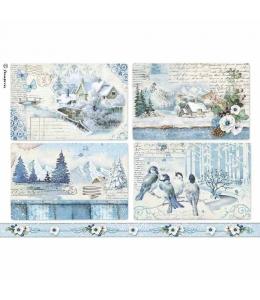 """Рисовая бумага для декупажа Stamperia DFSA4339 """"Голубая страна, пейзажи"""", формат А4"""