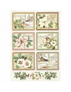 """Рисовая бумага для декупажа Stamperia DFSA4342 """"Зимняя ботаника, почтовые марки"""", формат А4"""