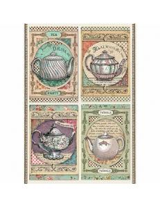 """Рисовая бумага для декупажа Stamperia DFSA4350 """"Время пить чай"""", формат А4"""