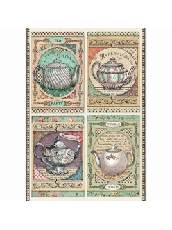 Рисовая бумага для декупажа Время пить чай, Stamperia формат А4