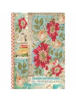 Рисовая бумага для декупажа Красные цветы, Stamperia формат А4