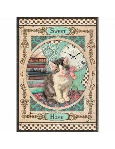 """Рисовая бумага для декупажа Stamperia DFSA4353 """"Милый дом, котенок"""", формат А4"""