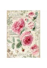 """Рисовая бумага для декупажа Stamperia DFSA4358 """"Ботаника, английские розы"""", формат А4"""