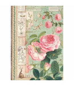"""Рисовая бумага для декупажа Stamperia DFSA4359 """"Ботаника, английские розы и насекомые"""", формат А4"""