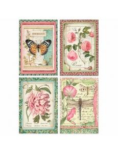 """Рисовая бумага для декупажа Stamperia DFSA4361 """"Ботаника, насекомые"""", формат А4"""