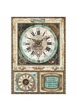 """Рисовая бумага для декупажа Stamperia DFSA4367 """"Фантастическое путешествие, часы"""", формат А4"""