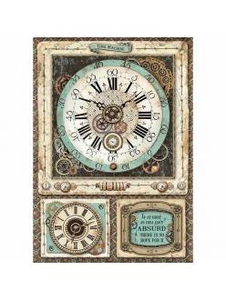 Рисовая бумага для декупажа Фантастическое путешествие, часы, Stamperia формат А4