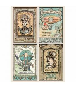 """Рисовая бумага для декупажа Stamperia DFSA4368 """"Фантастическое путешествие, карточки"""", формат А4"""
