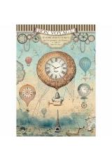 """Рисовая бумага для декупажа Stamperia DFSA4370 """"Фантастическое путешествие, воздушные шары"""", формат А4"""