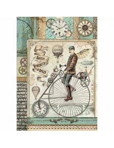 """Рисовая бумага для декупажа Stamperia DFSA4371 """"Фантастическое путешествие, ретро велосипед"""", формат А4"""