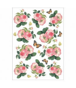 """Рисовая бумага для декупажа Stamperia DFSA4378 """"Розы и бабочки"""", формат А4"""