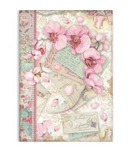 "Рисовая бумага для декупажа Stamperia DFSA4512 ""Розовая орхидея"", формат А4"