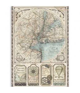 "Рисовая бумага для декупажа Stamperia DFSA4515 ""Бродяга - карта Нью Йорка"", формат А4"
