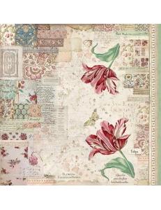 "Рисовая салфетка для декупажа Stamperia DFT340 ""Ботаника, тюльпан"", 50х50 см"