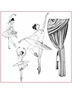 """Салфетка рисовая с контуром рисунка """"Танец"""" Stamperia DFTM19, 50х50 см"""