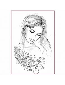 """Рисовая бумага с контуром рисунка """"Портрет женщины"""", формат А4, Stamperia DFTMA401"""