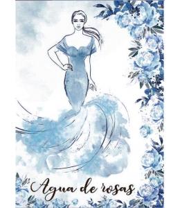 """Рисовая бумага с контуром рисунка """"Agya de roses"""", формат А4, Stamperia DFTMA407"""
