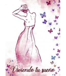 """Рисовая бумага с контуром рисунка """"Viviendo tu sueno"""", формат А4, Stamperia DFTMA409"""