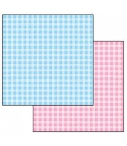 """Бумага для скрапбукинга двусторонняя """"Голубая и розовая клетка"""", Stamperia, 31,2х30,3 см"""