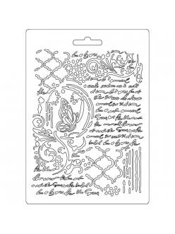 "Молд для декора ""Бабочка и рукописи"", 14,8х21,0 см, Stamperia"