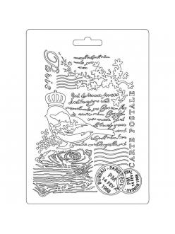 "Молд для декора ""Птица и текст"", 14,8х21,0 см, Stamperia"