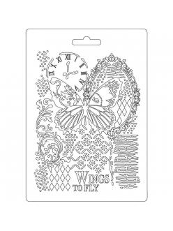 "Молд для декора ""Орнамент и бабочка"", 14,8х21,0 см, Stamperia"