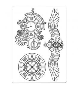 """Силиконовая форма для моделирования """"Бродяга - часы и крылья"""" 14,8х21 см, Stamperia"""