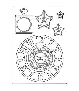 """Силиконовая форма для моделирования """"Бродяга - часы и звезды"""" 14,8х21 см, Stamperia"""