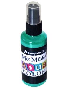 "Краска - спрей ""Aquacolor Spray ""для техники ""Mix Media"" бирюзовый, 60 мл, Stamperia (Италия)"
