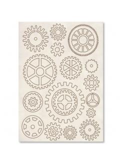 Набор высеченных декоративных элементов Шестеренки, Stamperia
