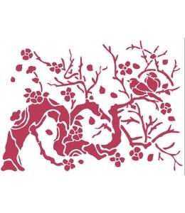 """Трафарет пластиковый для росписи KSD301 """"Япония, птица на ветке"""", 15х20 см, Stamperia (Италия)"""