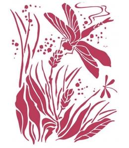 """Трафарет пластиковый для росписи KSD303 """"Стрекоза"""", 15х20 см, Stamperia (Италия)"""