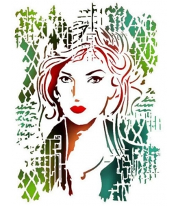 """Трафарет пластиковый KSG367 """"Женский портрет"""", 21х29,7 см, Stamperia (Италия)"""
