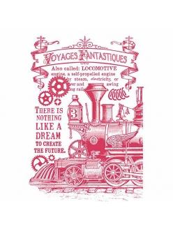 Трафарет для декора Фантастическое путешествие, паравоз, 21х29,7 см, Stamperia