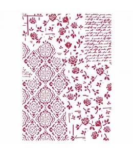 "Трафарет пластиковый KSG438 ""Розы и орнамент"", 21х29,7 см, Stamperia"
