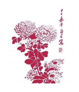 "Трафарет пластиковый KSG447 ""Японская хризантема"", 21х29,7 см, Stamperia"