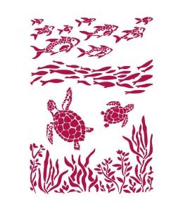 "Трафарет пластиковый KSG460 ""Романтика - рыба и черепаха"", 21х29,7 см, Stamperia"