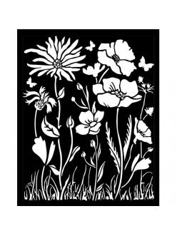 Трафарет объемный Ателье - цветы и маки, толщина 0,5 мм, 20х25 см, Stamperia