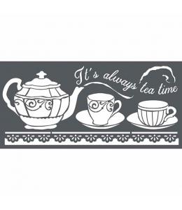 """Трафарет объемный """"Время пить чай"""", толщина 0,25 мм, 12х25 см, Stamperia KSTDL18"""