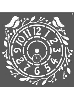 Трафарет объемный Часы с птичками, толщина 0,5 мм, 18х18 см, Stamperia KSTDQ27