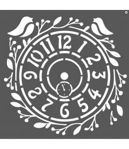 "Трафарет объемный ""Часы с птичками"", толщина 0,5 мм, 18х18 см, Stamperia KSTDQ27"