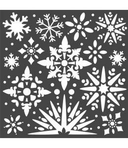 """Трафарет объемный """"Снежинки"""", толщина 0,5 мм, 18х18 см, Stamperia KSTDQ49"""