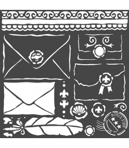"Трафарет объемный ""Письма"", толщина 0,25 мм, 18х18 см, Stamperia KSTDQ57"